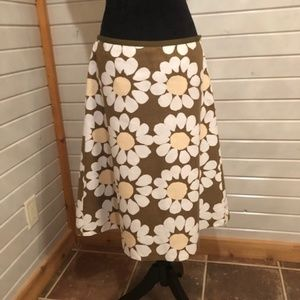 ✅3/25✅LAURA ASHLEY KHAKI FLORAL A-LINE SKIRT 10